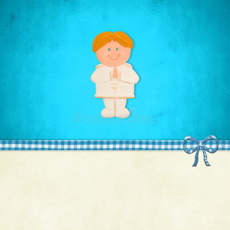 Primera tarjeta de la comunión santa, muchacho rubio ilustración del vector