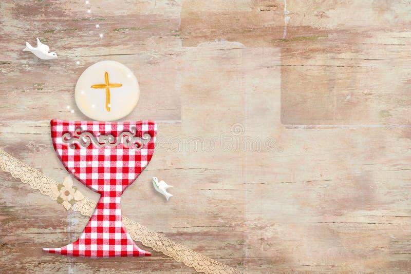 Primera tarjeta de la invitación de la comunión santa ilustración del vector