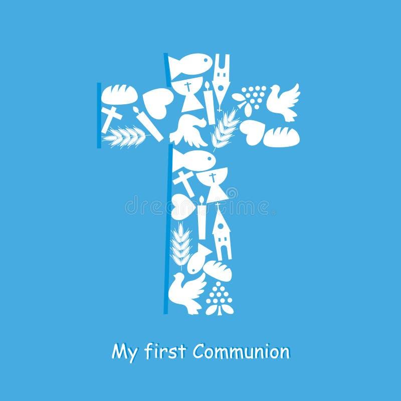 Primera tarjeta de la invitación de la comunión stock de ilustración