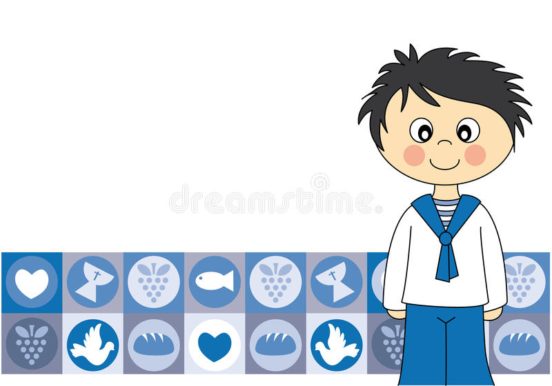 Primer muchacho de la comunión stock de ilustración
