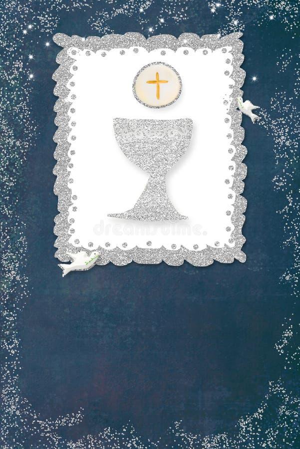 Primera tarjeta de la invitaci?n de la comuni?n santa vertical stock de ilustración