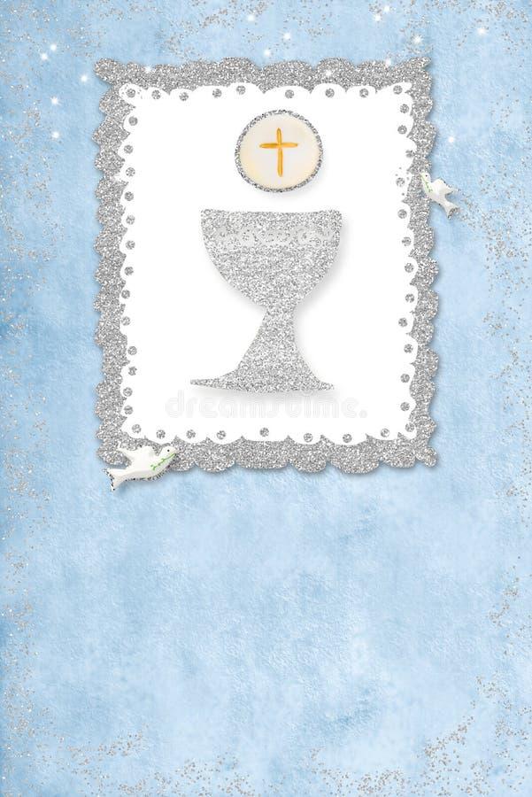 Primera tarjeta de la invitaci?n de la comuni?n santa vertical ilustración del vector