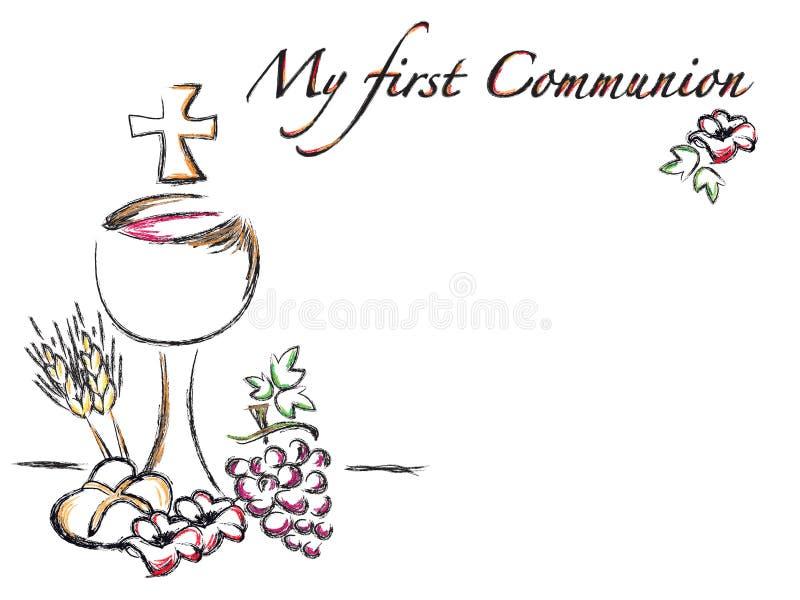 Primera tarjeta de la religión de la comunión ilustración del vector