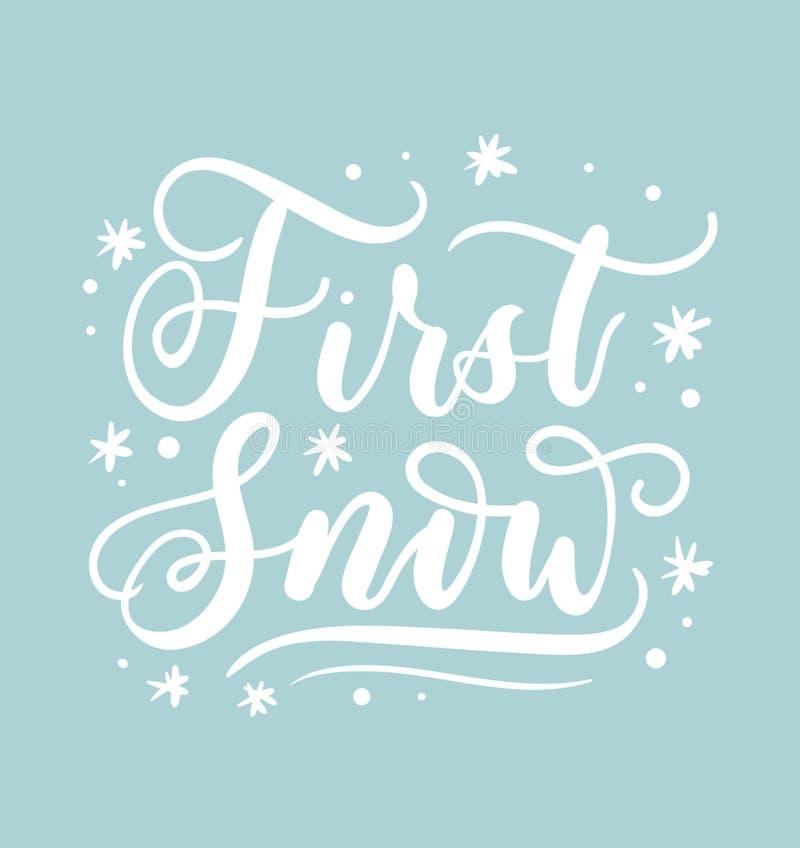 Primera tarjeta de letras de la nieve Cita inspirada dibujada mano del invierno ilustración del vector