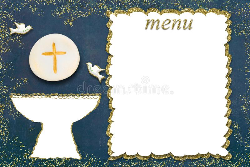 Primera tarjeta del men? de la comuni?n santa imagen de archivo libre de regalías