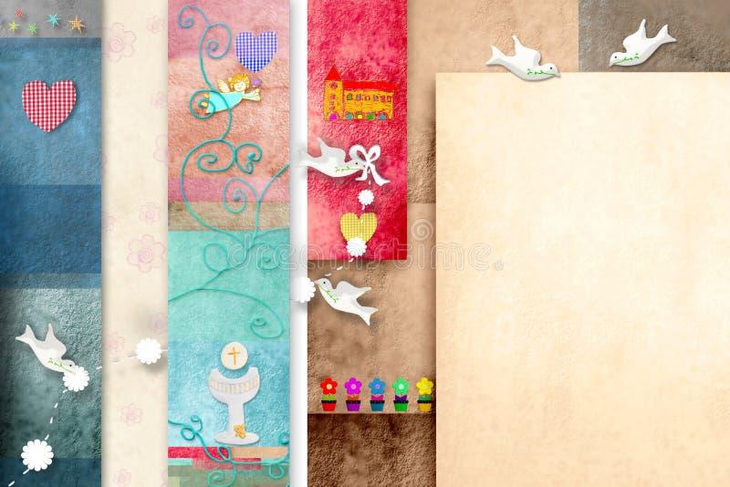 Primera tarjeta santa colorida de la invitación de Comunion ilustración del vector