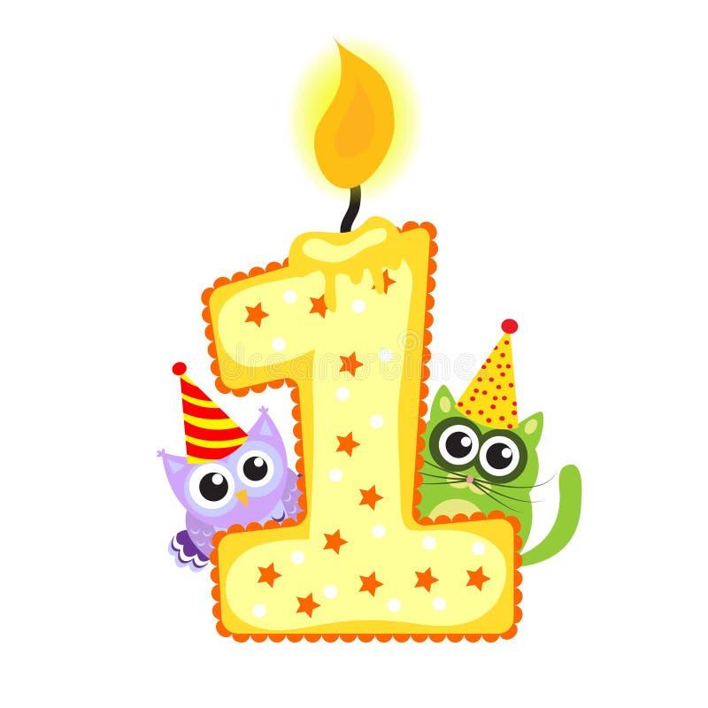 Primera vela y animales felices del cumpleaños en el blanco, cumpleaños 1 año, la tarjeta de los niños Vector de la tarjeta de fe ilustración del vector