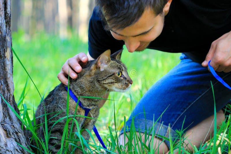 Primera vez del gato de casa del gato atigrado al aire libre en un correo y su dueño foto de archivo libre de regalías