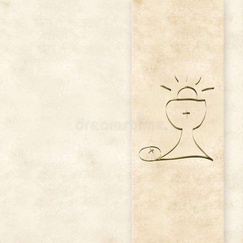 Primeras tarjetas de las invitaciones de la comunión santa imagenes de archivo