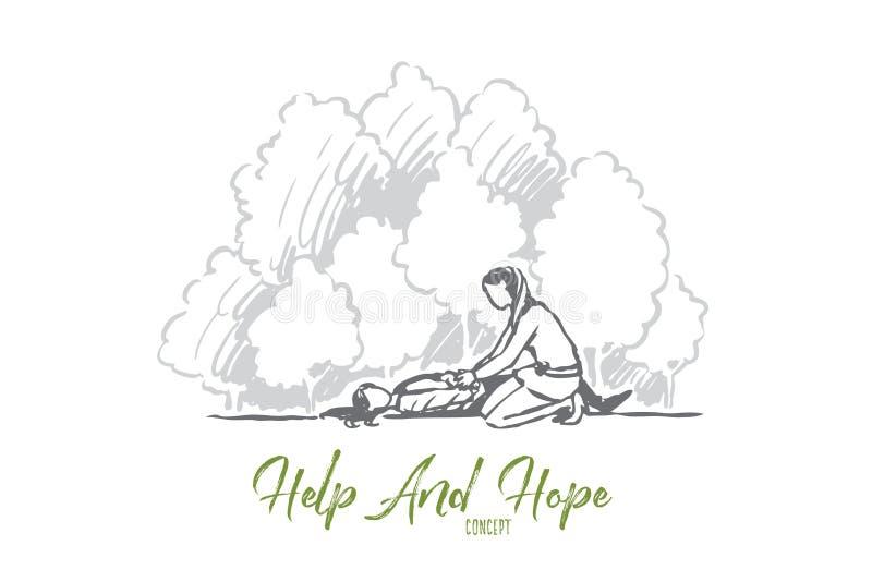 Primero, ayuda, emergencia, accidente, concepto de la ayuda Vector aislado dibujado mano libre illustration