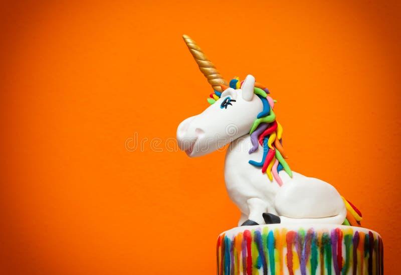 Primero de la torta del unicornio fotos de archivo libres de regalías