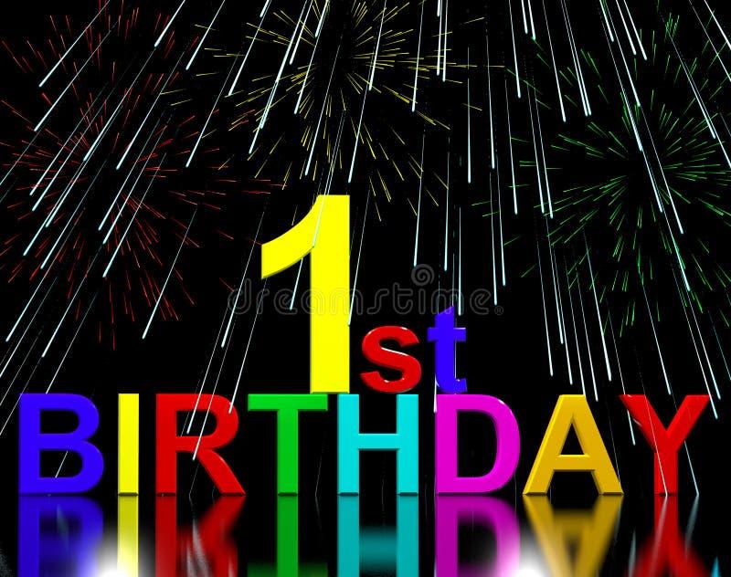 Primero o 1r cumpleaños celebrado con los fuegos artificiales libre illustration