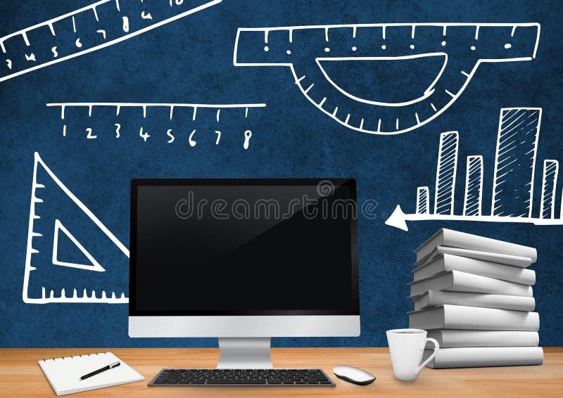 Primero plano del escritorio del ordenador con los gráficos de la pizarra de medidas y de reglas ilustración del vector
