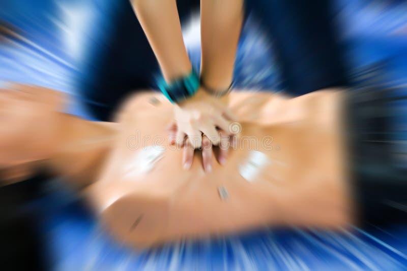 Primeros auxilios de la atención sanitaria de la educación del CPR de la resucitación cardiopulmonar fotos de archivo