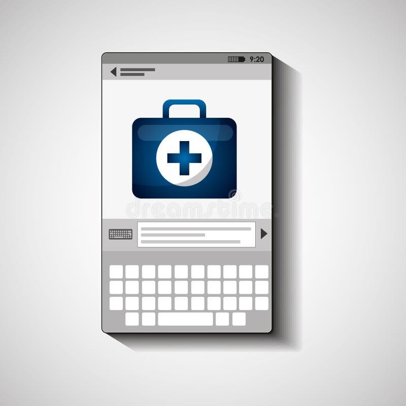 Primeros auxilios del equipo de la atención sanitaria del dispositivo móvil libre illustration