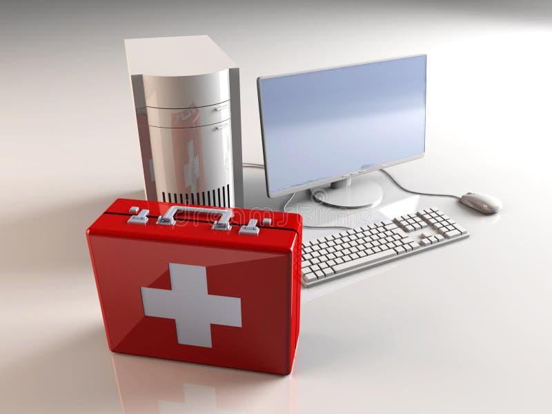 Primeros auxilios del ordenador. stock de ilustración