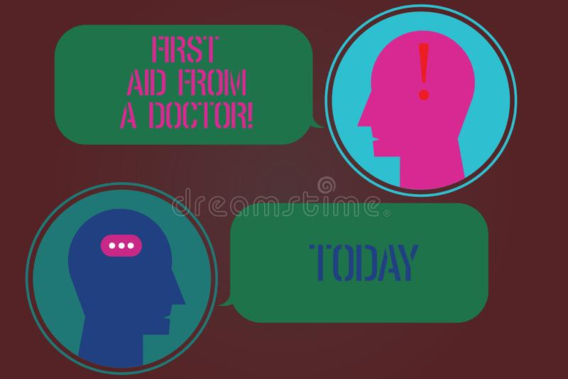 Primeros auxilios del texto de la escritura de la palabra de un doctor Concepto del negocio para la ayuda médica de los examining stock de ilustración