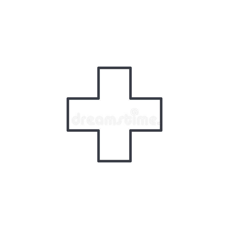 Primeros auxilios, farmacia, línea fina cruzada médica icono Símbolo linear del vector stock de ilustración