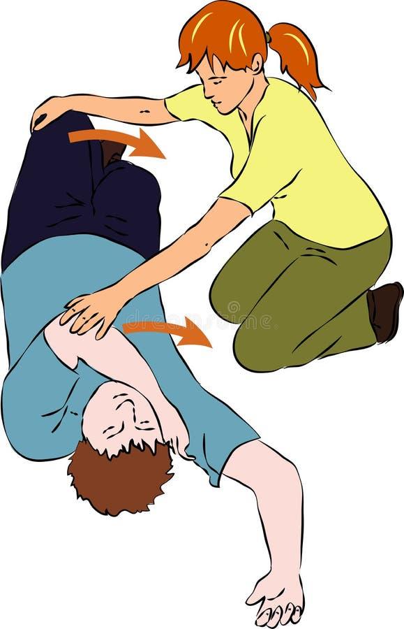 Primeros auxilios - hombre inconsciente que cae ilustración del vector