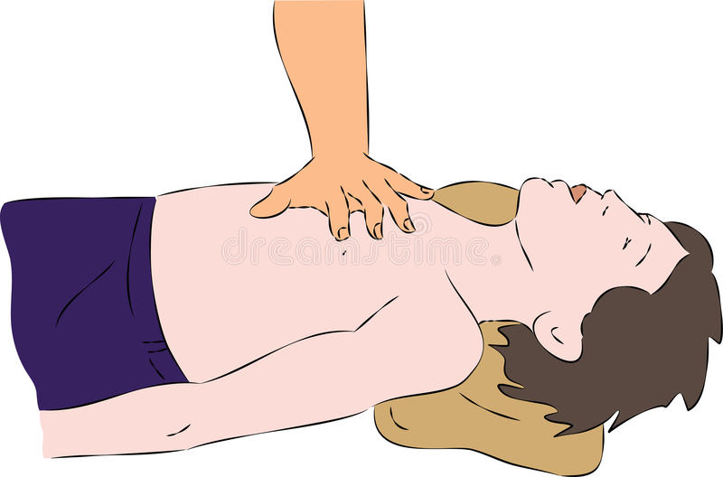 Primeros auxilios - masaje de corazón de SPR para el niño stock de ilustración