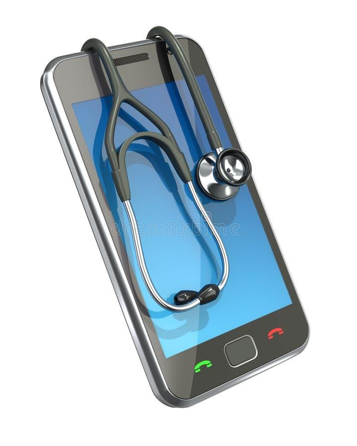 Primeros auxilios para el smartphone stock de ilustración