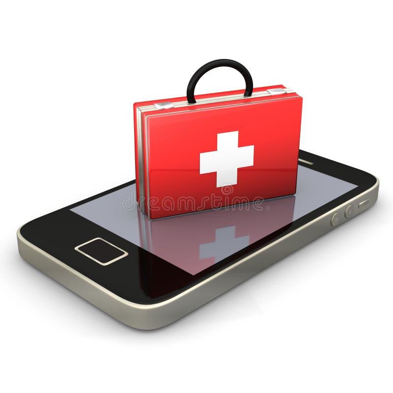 Primeros auxilios Smartphone stock de ilustración