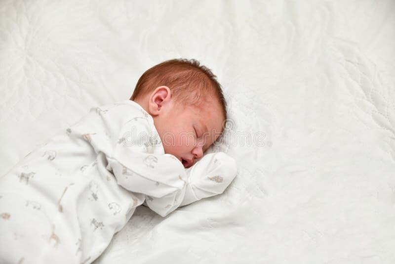 Primeros días del sueño recién nacido del bebé en un hospital de maternidad fotografía de archivo libre de regalías