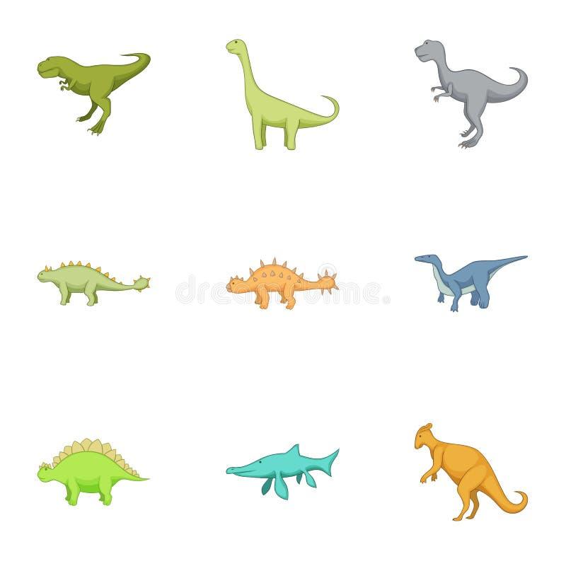 Primeros iconos fijados, estilo del dinosaurio de la historieta stock de ilustración