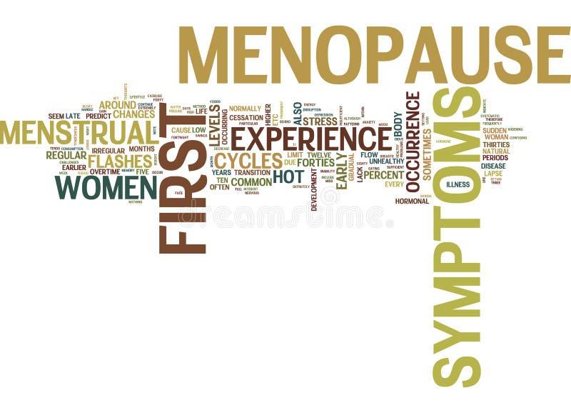Primeros síntomas del concepto de la nube de la palabra de la menopausia libre illustration
