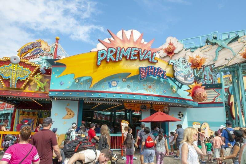 Primeval Whirl, Disney World, Travel, Animal Kingdom. Primeval Whirl roller coaster in the Animal Kingdom at Walt Disney World outside of Orlando, FL. Florida is royalty free stock photography