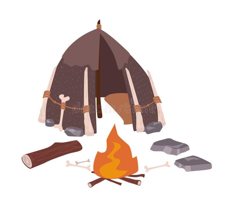 Primitief huis of archaïsch voorhistorische die woning van holbewoners en vuur op witte achtergrond worden geïsoleerd Hut van bee stock illustratie
