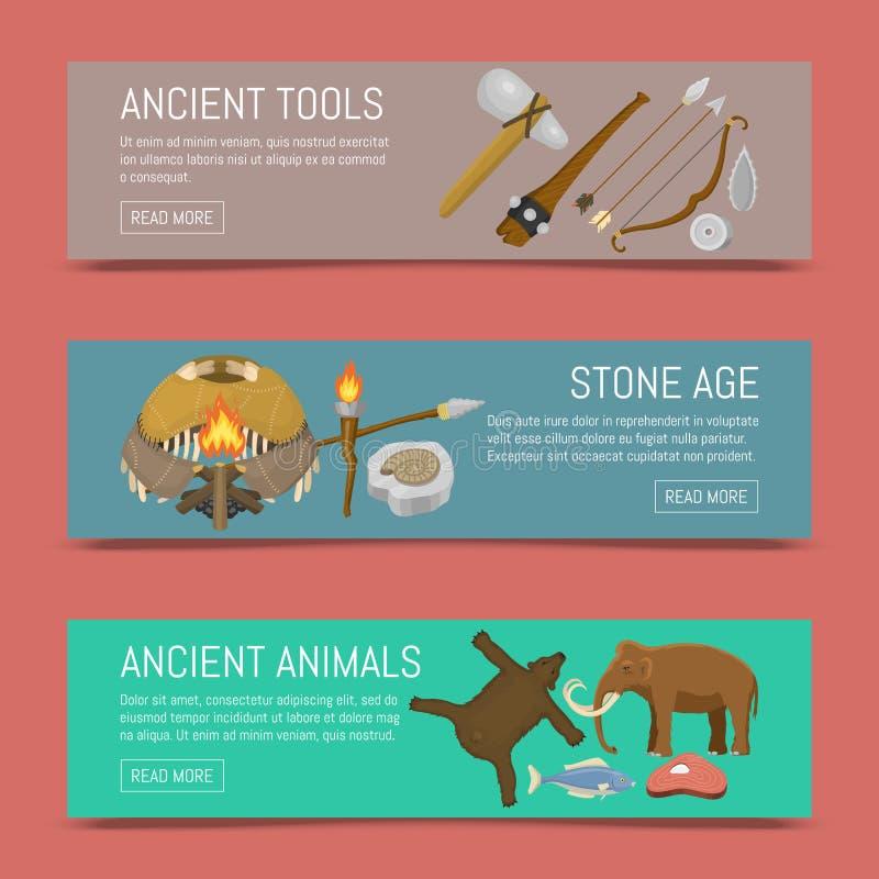 Primitieve voorhistorische het levensreeks van de steenleeftijd van banners vectorillustratie Oude hulpmiddelen en dieren De jach vector illustratie