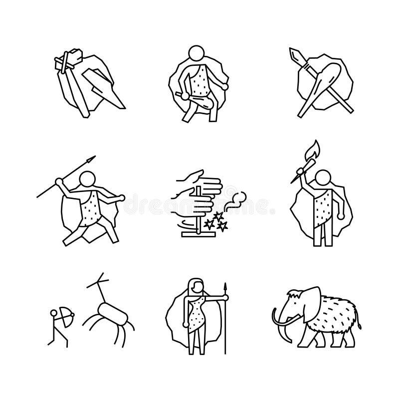 Primitieve voorhistorische holbewoner van geplaatste ijstijdtekens vector illustratie
