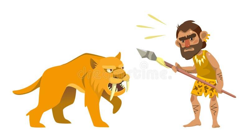 Primitiv jägare och sabel-tandad tiger royaltyfri illustrationer