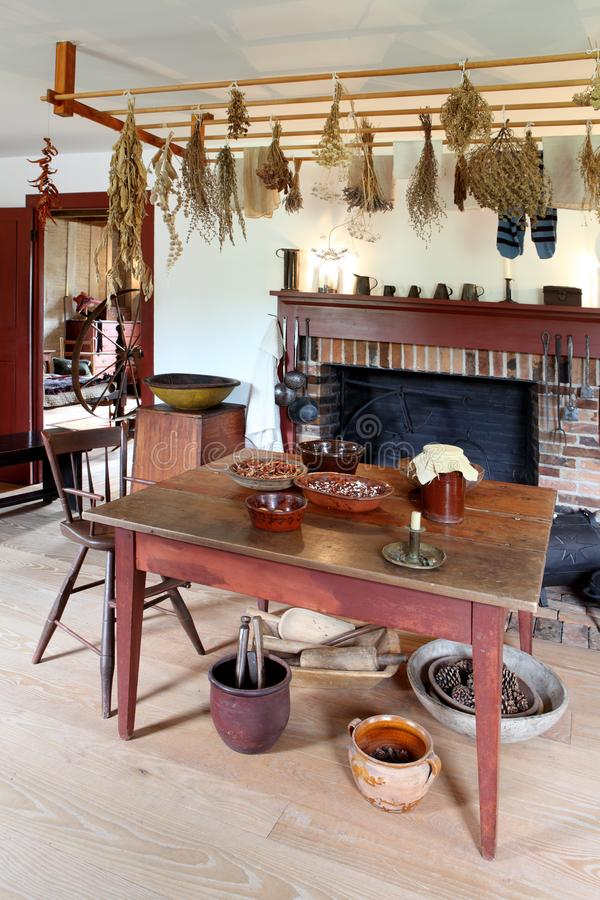 Primitive colonial dining room royalty free stock images