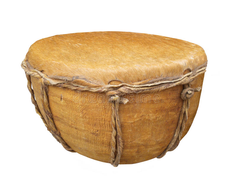 Primitive hand drum isolated. Primitive wooden hand drum with an animal hide top. Isolated on white stock images