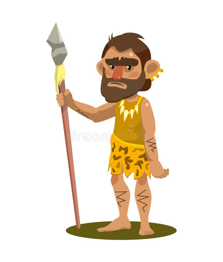 Primitive man holding a spear. object on white background royalty free illustration