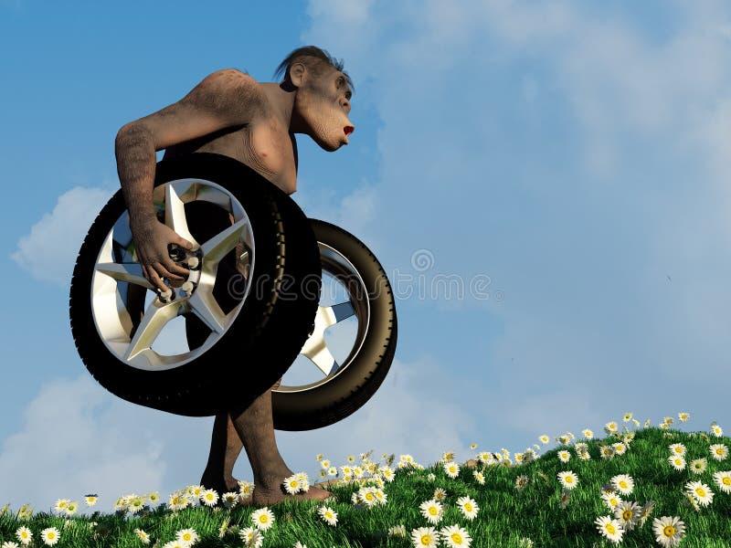 Primitive man with wheels. Primitive man has car wheels vector illustration