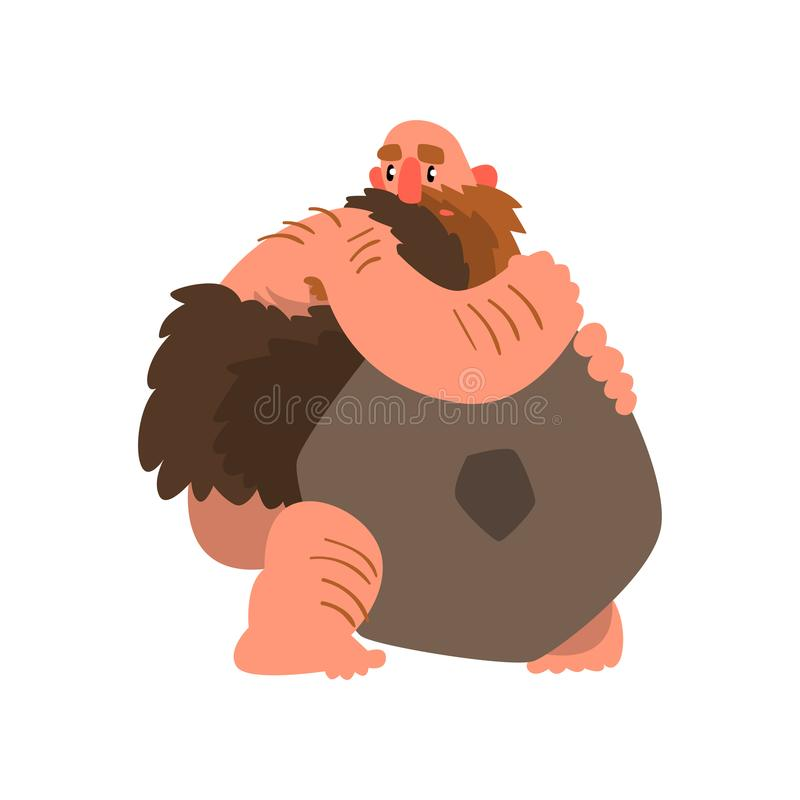 Primitive muscular caveman with stone, prehistoric man character cartoon vector Illustration on a white background royalty free illustration