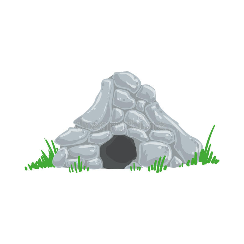 Primitive Stone Age Cave Troglodyte House Man Made Out Of Grey Rocks Living Place royalty free illustration