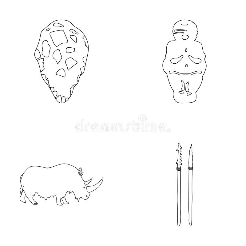 Primitive, woman, man, cattle .Stone age set collection icons in outline style vector symbol stock illustration web. Primitive, woman, man, cattle .Stone age stock illustration