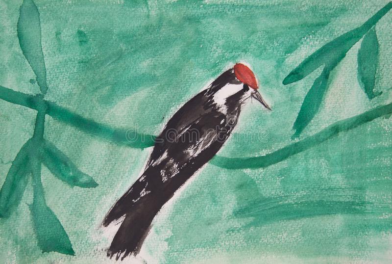 Primitiveness Woodpecker сидит на ветви против предпосылки зеленых листьев стоковое изображение