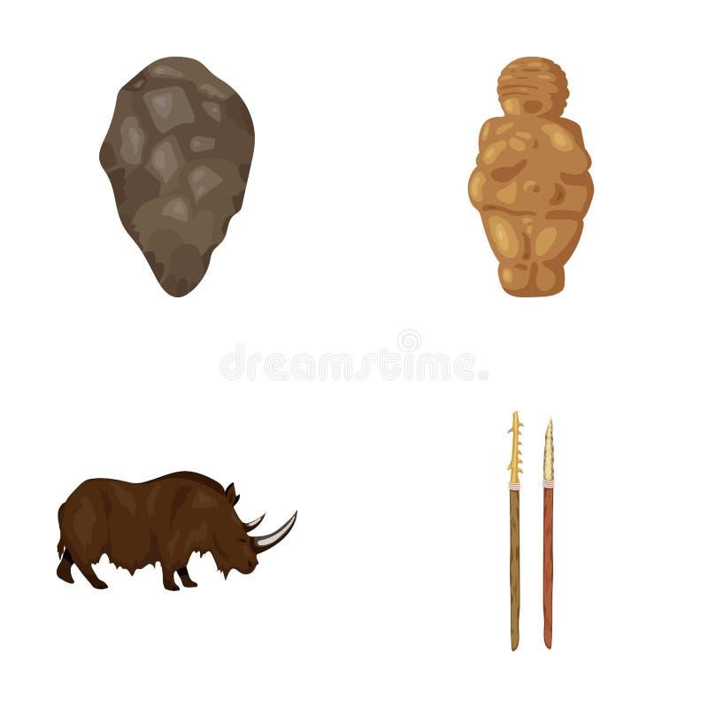 Primitiver, Frau, Mann, Vieh Vector gesetzte Sammlungsikonen des Steinzeitalters in der Karikaturart Illustrationsnetz des Symbol lizenzfreie abbildung