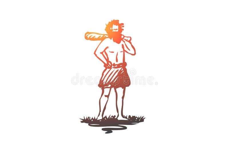 Primitivo, hombre, hombre de las cavernas, concepto antiguo, del Neanderthal Vector aislado dibujado mano libre illustration