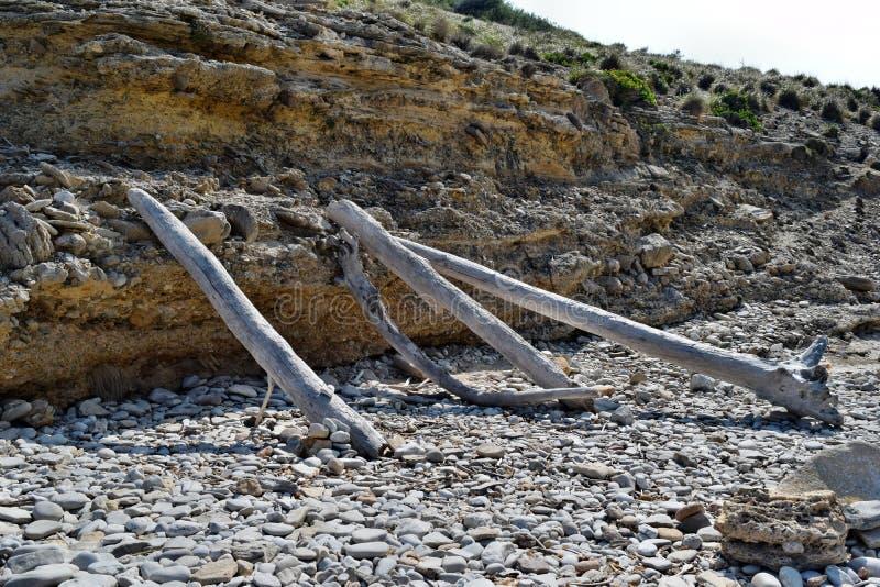 Primitivo um abrigo da cabana nas madeiras feitas do ramos ca?dos em Cala Figuera, Mallorca foto de stock