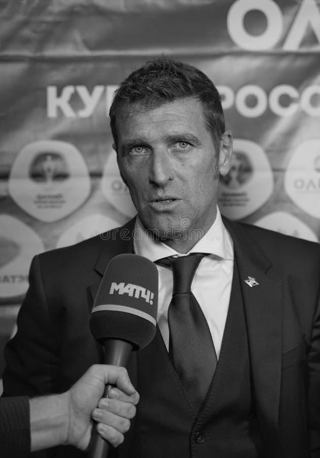 Primo allenatore di fc Spartak Moscow Massimo Carrera immagini stock libere da diritti