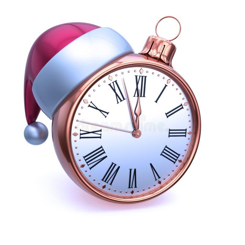 Primo dell'anno dorato della palla di Natale del fronte di orologio ultima ora di mezz'ora royalty illustrazione gratis