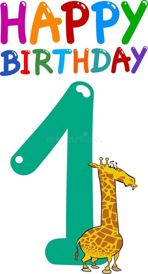 Primo disegno di anniversario di compleanno illustrazione di stock