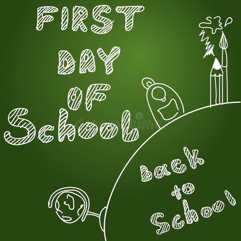 Primo giorno del banco Inizio di nuovo anno scolastico illustrazione vettoriale