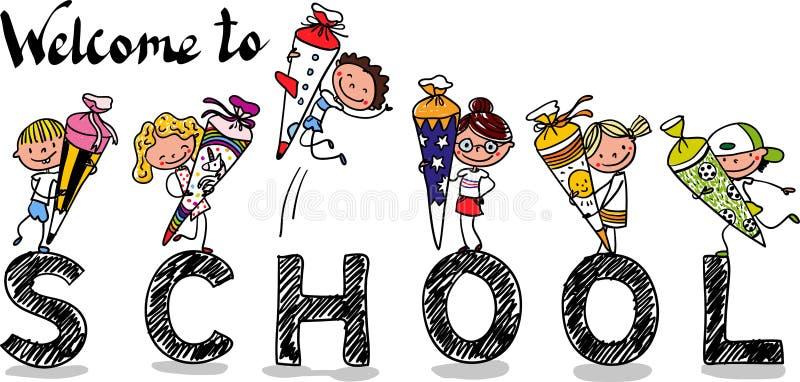 Primo giorno di scuola - scolare e scolari felici con i coni della scuola - fumetto disegnato a mano variopinto royalty illustrazione gratis